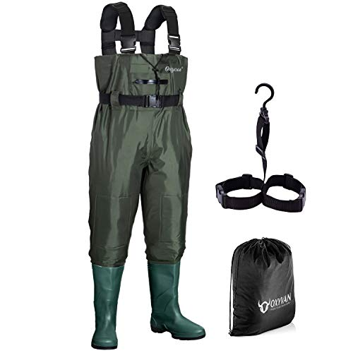 OXYVAN Chest Waders Waterproof and Lightweight Fishing Wader with Boots for Men and Women (M5/W7, Army Green)