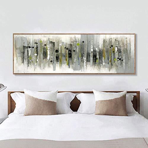 YB Modern abstract grijs groen olieverfschilderij op canvas poster en afdrukken muurkunst schilderijen voor de woonkamer cuadros decor geen lijst-30x90cm_