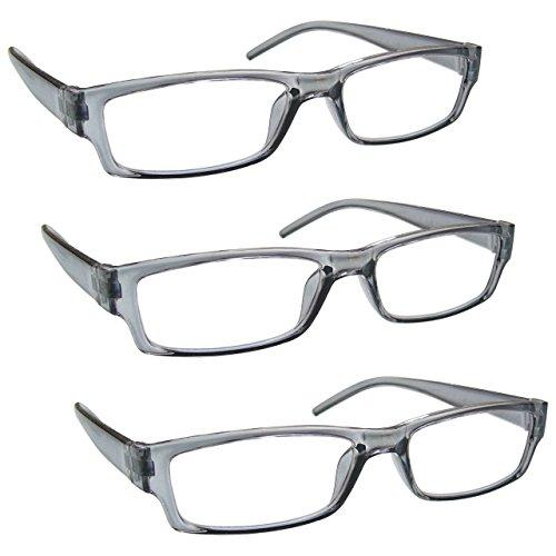 The Reading Glasses Company Die Lesebrille Unternehmen Grau Leicht Komfortables Leser Wert 3er-Pack Designer Stil Herren Frauen UVR3PK032GR +2, 50 / Grau