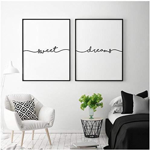 xwwnzdq Carteles e Impresiones Minimalistas Sweet Dreams Art Canvas Paintings Cuadros de Pared para decoración de Dormitorio 50x70cmx2 Sin Marco