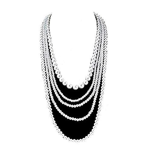 Collar largo con colgante de perlas de imitación de múltiples capas, 60 cm + 6 cm extensor