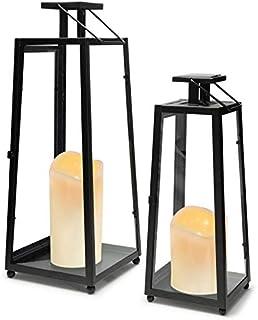 IDMarket - Lot de 2 lanternes solaires métal Noir Bougies à LED 30 et 40 cm