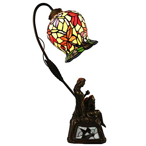Bieye L10624 Tulip Flower Tiffany Style Stained Glass Table Lamp with 7-inch Wide Lampshade and Bird Lady Lamp Base, 20 inches Tall
