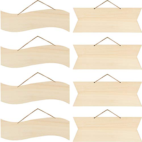 8 Pieces Unfinished Hanging Wood Sign Blank Hanging Decorative Wood Plaque Wooden Slices Banners with Ropes for Pyrography Painting Writing Home DIY Crafts Supplies, Pre-Strung (Beige)