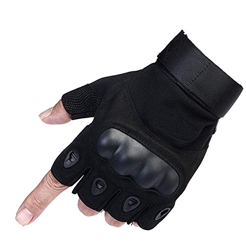 Fingerlose Halbfinger Sport Outdoor INTVN Fingerlose Handschuhe Herren , Motorradhandschuhe Herren Halbfinger Taktische Handschuhe für Radfahren, Motorrad (L )