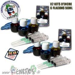 Kit encre-pack X2Kits tinta color HP60–Jet tinta