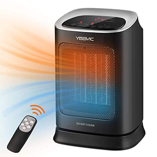 YISSVIC Heizlüfter Keramik Heizgerät 1800W mit Fernbedienung 70° Oszillation 3 Heizstufen LED Touch Timer Thermostatfunktion Energiesparend für Büro Haus