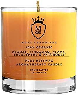 Moss Chandlers Orange, Cinnamon, Clove, Eucalyptus & Patchouli - 100% Organic Aromatherapy Scented Beeswax Candle - Organic, Safe, Non-Toxic & Non-GMO Candles from Glass Tumbler (9 oz)