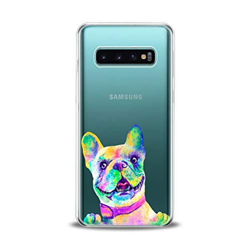 Lex Altern TPU Case Compatible for Samsung s21 Ultra s20 FE S10 Plus Note 10 s9 s8 French Bulldog Smooth Print Colored Dog Design Slim fit Soft Art Funny Animal Cover Clear Lightweight Girls Paw
