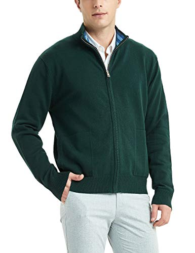Kallspin Men's Cotton Blend Full Zip Cardigan Sweaters Relaxed Fit Outwear with Pockets (Dark Green, M)