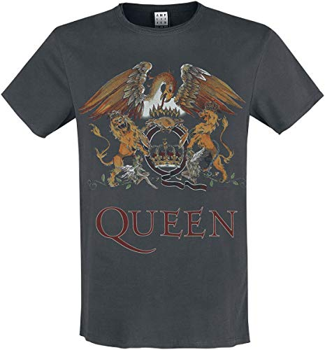 Queen Amplified Collection - Royal Crest Hombre Camiseta Gris Marengo XXL, 100% algodón, Regular