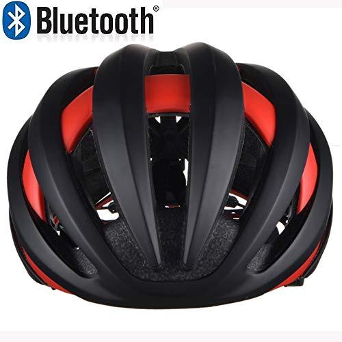 EDW Fahrradhelm mit 4,1 Bluetooth abnehmbaren Warnleuchten Leichte stoßfeste Schutzhelm Outdoor Riding Schutzausrüstung Music Call Black & Red