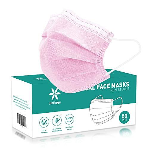 50 Stück Gesichtsmaske Rosa Gesichtsmaske Einwegmasken Rosa Einweg-Gesichtsmaske Tages-Schutzmaske mit Filterschicht und gestrickten Ohrschlaufen Rosa Gesichtsmasken 50 Stück