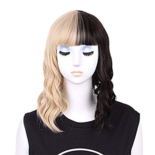 PHOCAS HairPhocas Half Blonde and Half Black Wig 2-Tone Dyed Short Curly Wavy Synthetic Hair Cosplay Costume Party Wig Bob Wig
