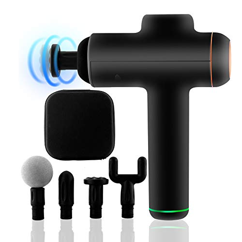 JSIKING Black Massage Gun,Adjustable 6 Speeds Variation,Hand Held Eletronic Design,4 Heads Included,Endurance of 6 Hours,The Screen Display, Best Christmas Gift,Relieve Muscle Soreness
