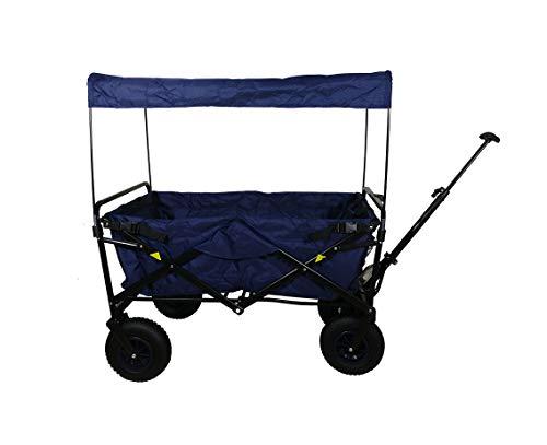 Frosal Faltbarer Bollerwagen Nick mit Bremse Dach und Luftbereifung in Blau | Luftreifen | Lufträder