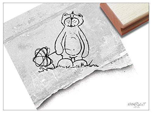 Stempel Tierstempel BÄR mit Herz - Kinderstempel Geschenk für Kinder Kita Kinderzimmer Schule Einschulung Schultüte Basteln - zAcheR-fineT