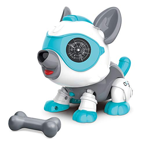MDGZY Stem DIY Perro Robot Juguete Animal con Huesos, Juguete Educativo e Interactivo para Niños y Niñas de 3 Años, Robot Inteligente Perro para Niños con Tacto Inteligente y Control de Voz Blanco