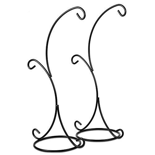 Ornament Display Ständer Halter Home Hochzeit Dekoration Rack zum Aufhängen Glas Globus Topfständer Eisen Pothook Ständer Terrarium Hexe Ball (Doppelhaken 2er Pack, Schwarz)