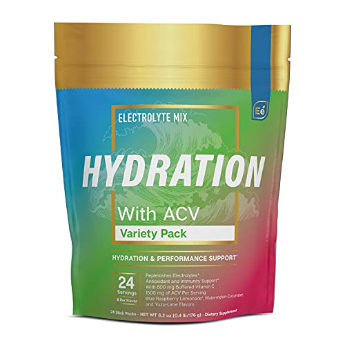 Hydration Powder Packets - Variety Pack | Electrolyte & Recovery Drink Mix | with ACV & Vitamin C | 24 Stick Packs - by Essential elements