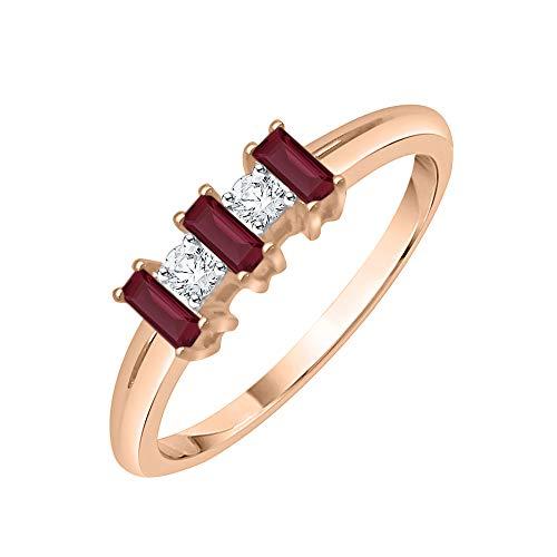 KATARINA Anillo redondo de diamantes y rubí de corte baguette en oro de 14 k (1 5/8 cttw, G-H, I2-I3)
