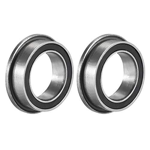Sourcingmap MF128-2RS Rodamiento de bolas con brida de 8 x 12 x 3,5 mm doble sellado (GCr15) rodamientos de acero cromado 2 piezas