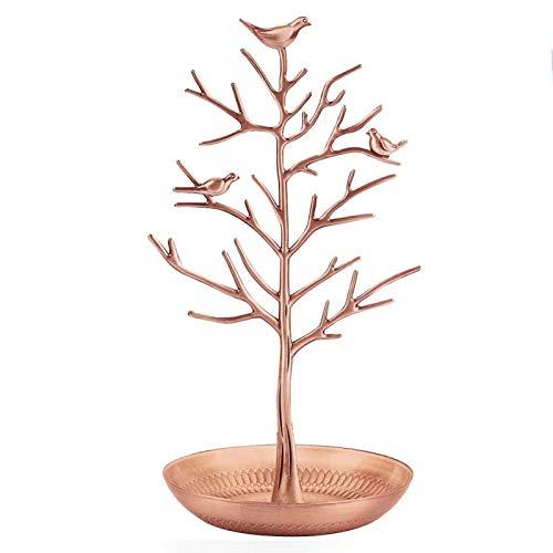 Organizador de árbol de joyería, soporte de aleación para aretes, collares, anillos, oro rosa