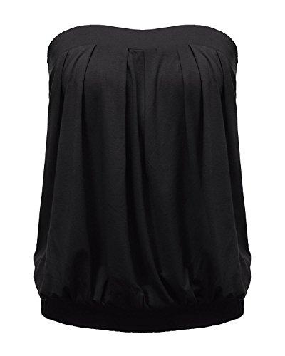 ZANZEA Donna Tops Senza Spalline Magliette Estate Vests Partito Spiaggia Cotone Sexy Tinta Unita Nero IT 46/US 14