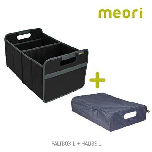 Vouwbox, groot zwart + kap, 32 x 50 x 27,5 cm, stabiel, afwasbaar, polyester, opbergdoos, speelgoedbox, gereedschapskist, transportkist, boodschappenmand, kofferbakbox