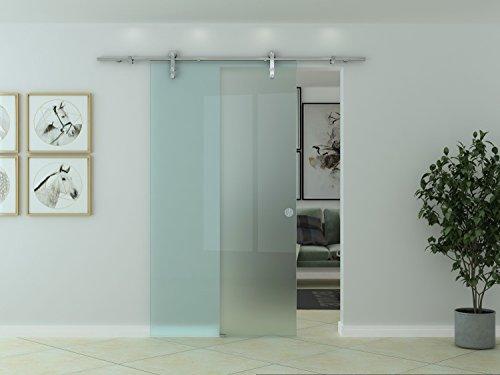 Glas-Schiebetür Glasschiebetür Ganzglasschiebetür Glastür Glas Tür MIlchglas Satiniert 900 x 2050 mm