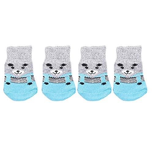 LJSLYJ 2 pares de calcetines antideslizantes de punto para perros y gatos con refuerzo de goma, protector de patas para uso en interiores, apto para perros pequeños, medianos y grandes