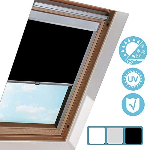 Hengda Verdunkelungsrollo S08 Schwarz (97.3x116cm) für VELUX Dachfenster / 100% Verdunkelung/Sonnenschutz