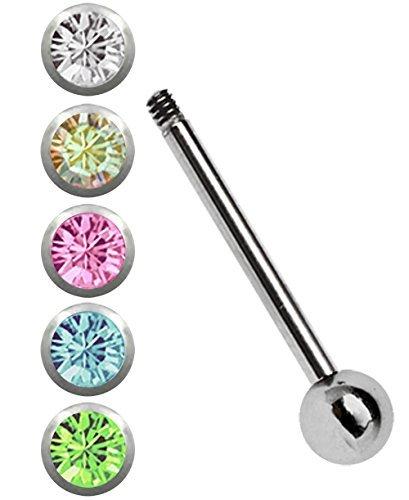 Modern Nature Piercing-Schmuck Zungenpiercing Set, Stahlstab in 1,6 x 16 mm mit 5 Steinkugeln