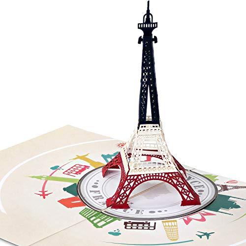 PaperCrush® Pop-Up Karte Paris Eiffelturm - Besonderer Gutschein für Paris Reise, Romantische Geschenkkarte zum Geburtstag oder Hochzeitstag - Handgemachte Geburtstagskarte mit Frankreich Motiv