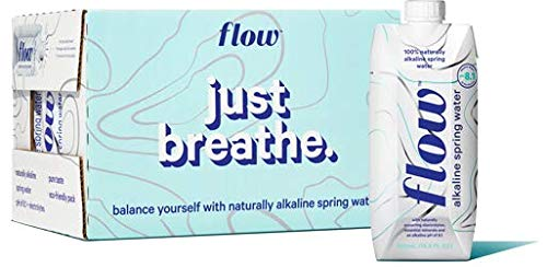 Flow Alkaline Spring Water, Organic Plain, 100% Natural Alkaline Water pH 8.1, Electrolytes + Essential Minerals, Eco-Friendly Pack, 100% Recyclable, BPA-Free, Non-GMO, Pack of 12 x 500ml