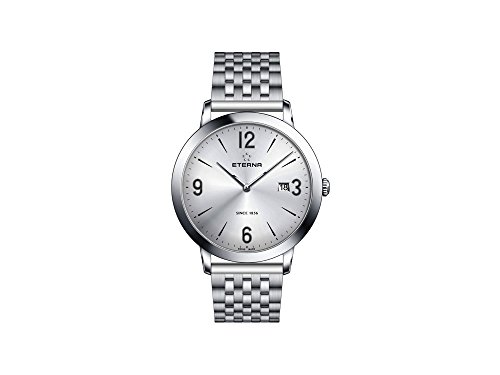 Eterna Eternity Gent Quartz Uhr, ETA 955.112, 42mm, Silber, Stahlband