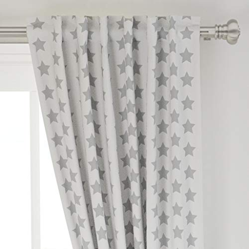 Roostery Curtain Panel, Stars Nursery Decor Star Grey Barn Baby Boy Girl Print, Basketweave Cotton Canvas, Back Tab/Rod Pocket Curtain Panel, 50in x 96in