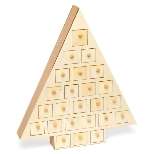 Baker Ross AC423 Wooden Advent Tree (Pack of 1), Perfect for Children to Design and Decorate, Ideal for School, Groups and Home Crafting, Assorted