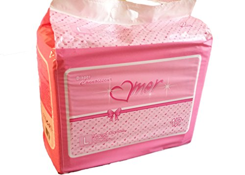 12 Diapers - DC Amor - Medium/Large - All Pink Theme! Plastic-Backed Adult Baby (Medium)