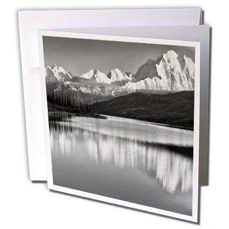 3drose USA, Alaska, Denali, MT. McKinley van Wonder Lake. Zwart en wit - kaarten, 15,2 x 15,2 cm set van 6 (GC 229444 1)