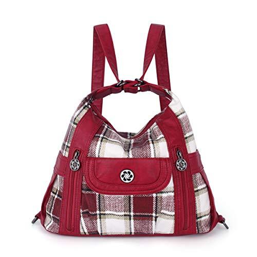 angel kiss Satchel Handbag for Women, Ultra Soft Washed Vegan Leather Crossbody Bag, Shoulder Bag, Tote Purse (ZDA-0118-5G#35/N162#20-RED/RED)