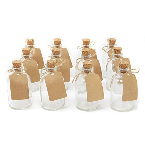 Set von 12 Mini-Glasflaschen | Hochzeitsdekorationen Gefälligkeiten | 50ml Glasflaschen mit Korkdeckeln | Enthält beigefügte Etiketten | M&W