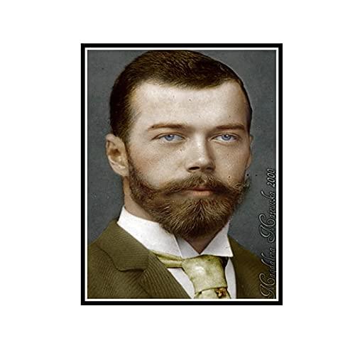 ADNHWAN Pittura Zar Nikolai II Alexandrovich Romanov Imperatore di Russia Ritratto Poster Decorativo da Parete su Tela Home Decor -50x70cm No Frame 1 PCS