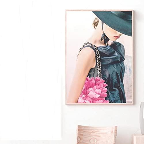 Danjiao Bolsa De Lápiz Labial De Perfume De París, Libro De Moda Para Chica, Lienzo Artístico, Pintura, Carteles Nórdicos E Impresiones, Cuadros De Pared Para La Decoración De La Sala De Esta 60x90cm