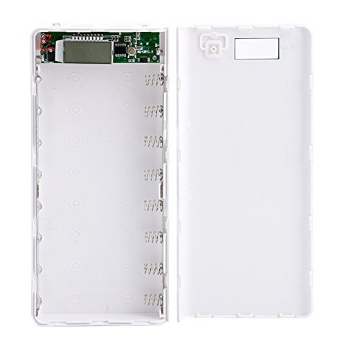 Mimgo Store 30000mAh USB 2 Port Power Bank Case 8x18650 Battery Charger Box DIY for Phone (White)