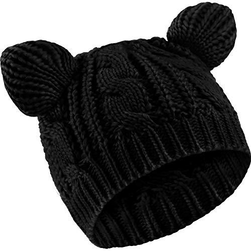 SATINIOR Katzen Ohr Mütze Hut Süße Katze Strickmütze Winter Strickmütze für Damen Mädchen (Schwarz, 1)