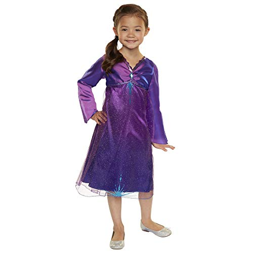 Frozen 2 Elsa Purple Role-Play Dress with Diamond Gem, Fits Sizes 4-6x [Amazon Exclusive]