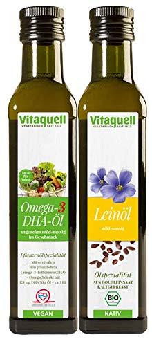 Vitaquell Omega 3 DHA Öl, 250 ml + Leinöl Goldleinsaat Bio, nativ 250 ml