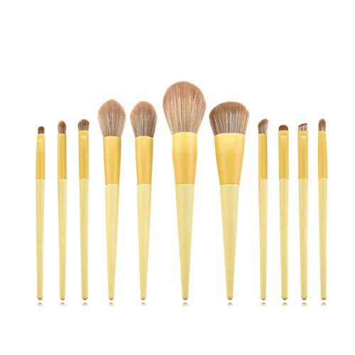 Fanxp 11 Pcs Professionnel Licorne Maquillage Brosses Jaune Ensemble, Pour Poudre Libre Blush Fard À Paupières Surligneur Brosse Dame Beauté Outils
