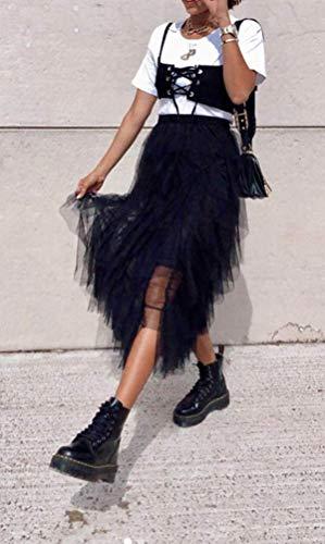 Frecoccialo Falda Larga de Tutú para Mujeres Falda de Princesa Plisada de Tul Vintage Cintura Elástica de Múltiples Capas (Negro,S)